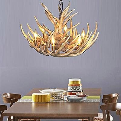 Lightinthebox® Vintage Antler Chandelier Lighting Industrial Fixture Country 6-Lights Fit for Living Room Dining room Easy Installation