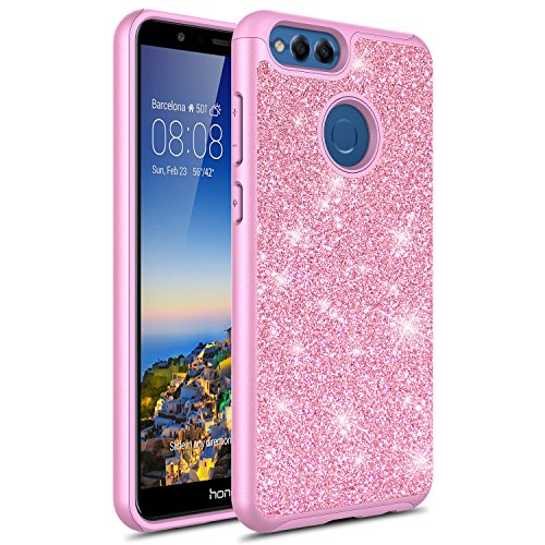 Honor 7X Case, Rosebono Cute Fashinon Hybird Luxury Shinning Bling Classy Glitter Sparkle Protective Shockproof Case Cover for Huawei Honor 7 X (Pink)