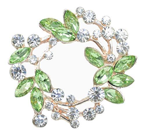 Gyn&Joy Womens Diamond Inspired Green Floral Wreath Holiday Brooch Pin BZ005G