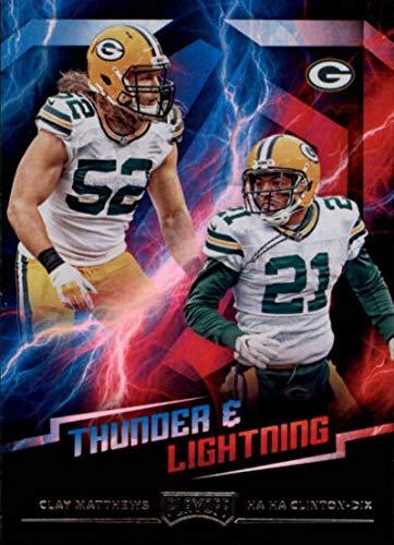 (2018 Panini Playoff Thunder and Lightning #9 Clay Matthews/Ha Ha Clinton-Dix Green Bay Packers NFL Football Trading Card)
