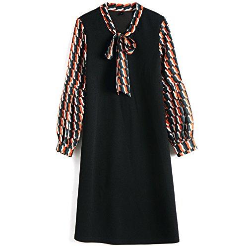 jialeleレディースドレス、半袖、sleevelesstwoピースのフェイクドレスShowゆったり袖のシンLanterns XX-Large ブラック B07BFD762M