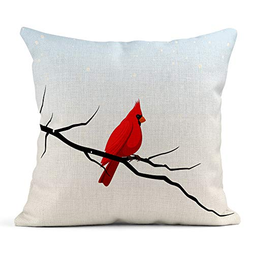Emvency Throw Pillow Cover Print Linen Square 20x20 Inches Hidden Zipper Red Tree of Cardinal Perched on Branch in Snowy Winter Scene Bird Pillowcase one Side Design Home Sofa Decor