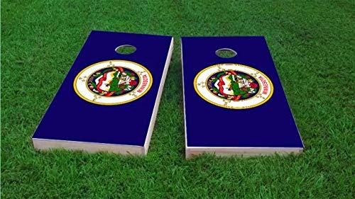 Minnesota Corn (Minnesota State Flag Cornhole Boards (25% Lighter 1x4 Frame), Wood, Includes State Logo Cornhole Bags (Corn Filled))