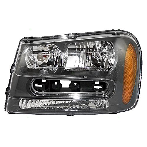 Drivers Headlight Headlamp Assembly Replacement for 02-09 Chevrolet Trailblazer & 02-06 EXT w/Full Width Grille Bar ()