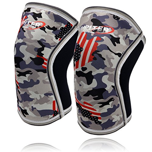 Knee Sleeves (1 Pair), 7mm Thick Compression Knee Braces Offer Perfect Support for Squats Weightlifting,Powerlifting,Crossfit,Cross Training WOD for Men & Women (Large, Grey Camo+)