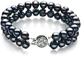 Lavinia Black 6-7mm Double Strand A Quality Freshwater Cultured Pearl Bracelet-7 in length