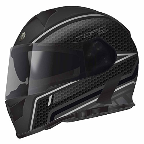 Torc T14 Scramble Mako Full Face Helmet (Flat Black/ Grey with Graphic, Large)