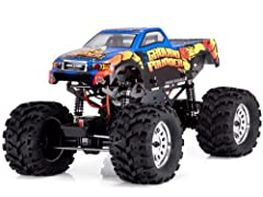 Product Features Are you ready for Car crushing, dirt slinging, Monster Truck action? Then you're ready for the first 1:10th scale solid-axle RTR RC monster truck to hit the RC market, the Ground Pounder! Developed, prototyped and tested by C...