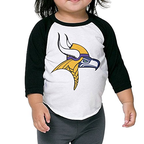 Kim Lennon Team Seahawk Viking Kids Round Collar Raglan Tshirt Black 3 Toddler