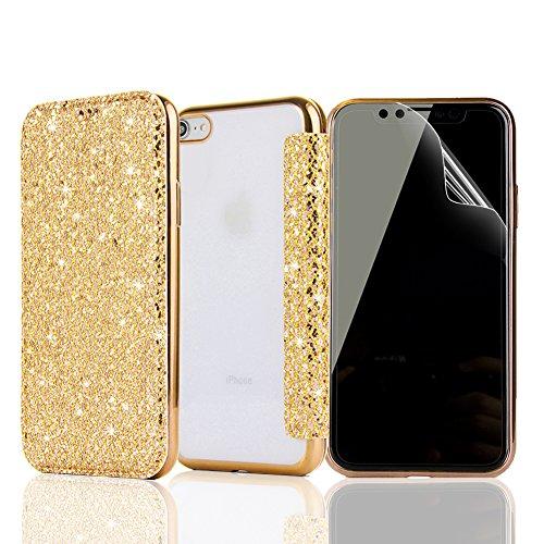 Funda iPhone 5, Funda iPhone 5S SE, Sunroyal Ultra Slim ultra delgada PU Leather Flip Case con ranuras folio tarjeta y Clear Soft Gel SuaveTPU Cubierta de silicona brillo brillante Protección de 360 ° Diseño 04