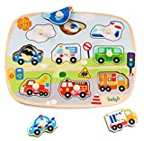rolimate Large Size Traffic Vehicles Wooden Pegged Puzzles, Educational Learning Preschool Activity Toys Game for Kid, Best Birthday Gift for Age 3 4 5 Years Old Kids Children Baby Toddles Boys Girls