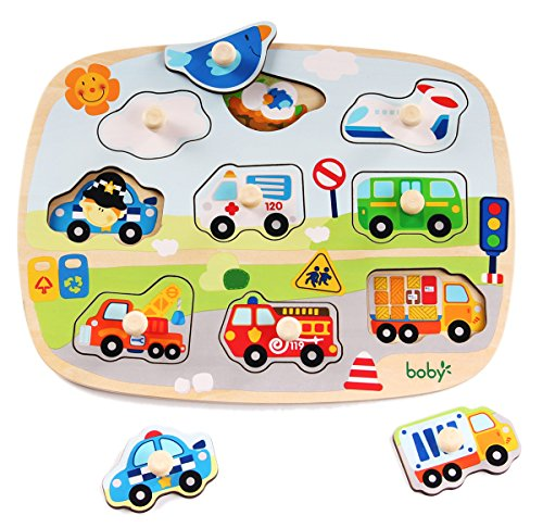rolimate Large Size Traffic Vehicles Wooden Pegged Puzzles, Educational Learning Preschool Activity Toys Game for Kid, Best Birthday Gift for Age 3 4 5 Years Old Kids Children Baby Toddles Boys Girls by rolimate
