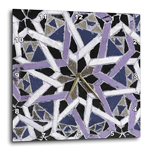 3dRose InspirationzStore - Tile Graphics - Image of Grey Blue Purple Decorative Mediterranean Style Moroccan Tile - 15x15 Wall Clock (DPP_317211_3)