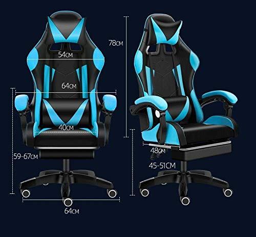 JINGXIANG kontorsstolar ergonomisk dator skrivbordsstol justerbar svängbar stol spelstol korsryggsstöd och nackstöd (färg: Svarta filer) Red Files