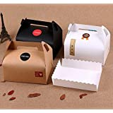 Chilly Treat Boxes, Decorative Kraft Gift Packing Box, Set of 10 Bakery Cake Cupcake Cookies Chocolate Box Container, Trays and Stickers Included (3 Colors)