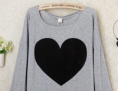 Sexyville Les femmes de mode aiment le coeur imprimé à manches longues T-shirt col rond tops