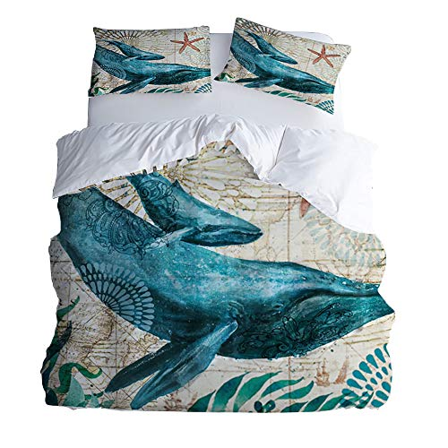 Rose Auroma 3D Whale Bedding Set Duvet Seagrass Starfish Bedding 3D Blue Ocean Bedding, Whale Bedspread 3 Piece Duvet Cover Sets Queen Size