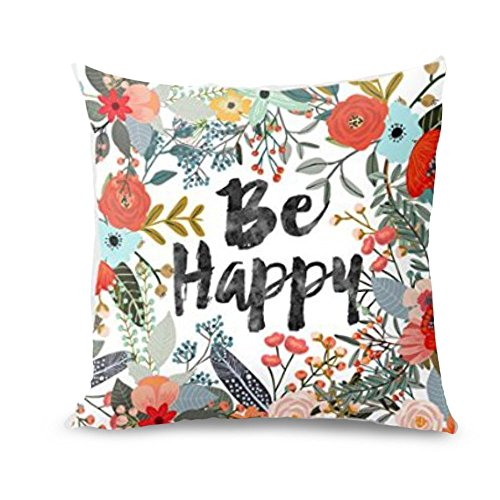 Throw Pillow Covers, E-Scenery Clearance Sale! Be Happy Surrounded with Flowers and Plants Square Decorative Throw Pillow Cases Cushion Cover for Sofa Bedroom Car Home Decor, 16 x 16 Inch -