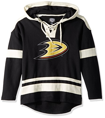 Black Nhl Pullover Sweatshirt (OTS NHL Anaheim Ducks Men's Grant Lace Up Pullover Hood, Jet Black, Medium)