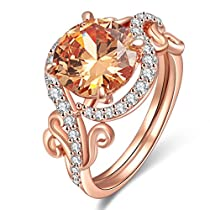 Exquisite Lady Rings AAA Cubic Zirconia Rose Gold Plated Ring Party Wedding Engagement Jewelry Size 7