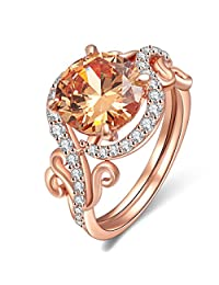 Exquisite Lady Rings AAA Cubic Zirconia Rose Gold Plated Ring Party Wedding Engagement Jewelry Size 5-10