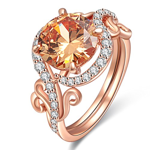 Jiangyue Exquisite Lady Rings AAA Cubic Zirconia Rose Gold Plated Ring Party Charming Elegant Jewelry Size 8