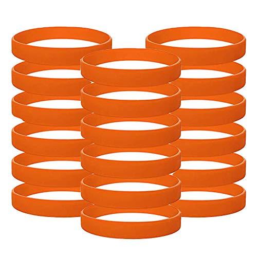 Vitalite 100pcs/set Plain Silicone Wristbands Blank Rubber Bracelets for Children Orange