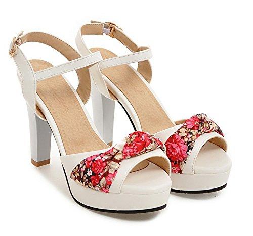 Schnalle Schleife Peep Muster Blumen Weiß Trichterabsatz Toe Aisun mit Riemchensandalen Damen SzxWnRfw1