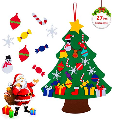 COCOMOON 3.5ft Felt Christmas Tree for Kids - Outgeek with 29 Pcs Ornaments Wall Decor with Hanging Rope for Kids Xmas Gifts Home Door Decoration(Gold dust)