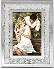Glorious Occasions Pavilion Gift Company 85116-Our Engagement White Crystal Mirrored-4x6 Picture Frame