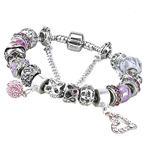 Duchy Charm Bracelet and Charm for Women Silver Plated Large Heart Ball Pink DIY Jewelry 8.5 inch/22 - One Day Sale Uk