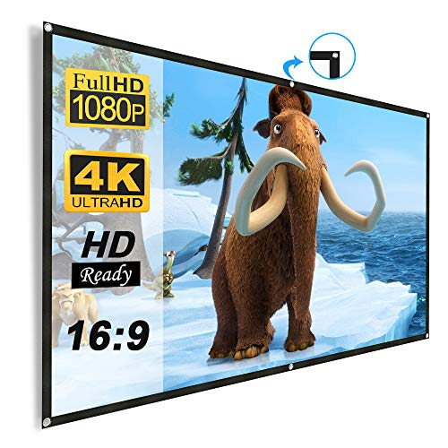 Projector Screen 120 inch, Weton 16:9 HD Projector Screen Portable Anti-Crease Indoor Outdoor Projection Movie Screen Foldable Wall Mounted Projection for Home Theater Christmas Party Presentations ()