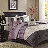 Madison Park Serene Queen Size Bed Comforter Set Bed in A Bag - Purple, Embroidered – 7 Pieces Bedding Sets – Faux Silk Bedroom Comforters