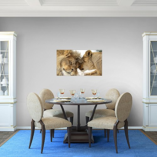 Runa-Art-Bild-Lwen-Liebe-Wandbild-Vlies-Leinwand-Bilder-XXL-Format-Wandbilder-Wohnzimmer-Wohnung-Deko-Kunstdrucke-Orang-1-Teilig-Made-in-Germany-Fertig-Zum-Aufhngen-002114a