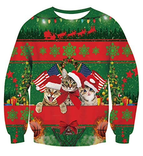 Uideazone Unisex Long Sleeve Pullover Cat Ugly Christmas Sweaters