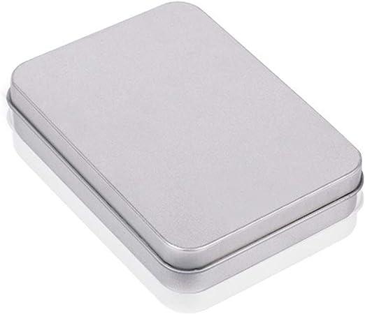 OPSLEA Metal estaño Caja Plata contenedores Portable pequeña Caja ...