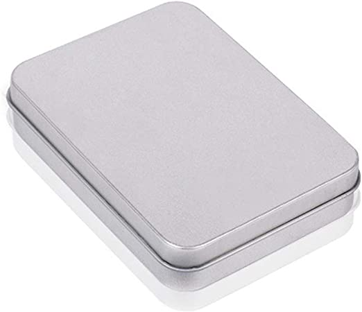 OPSLEA Metal estaño Caja Plata contenedores Portable pequeña Caja de Almacenamiento Organizador casa Almacenamiento: Amazon.es: Hogar