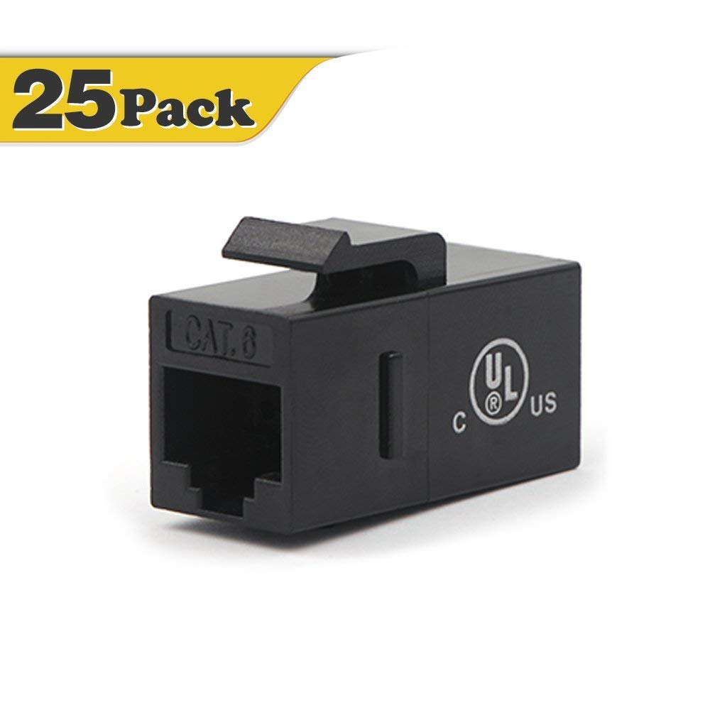 [UL Listed] VCE 25-PACK CAT6 RJ45 Keystone Jack Inline Coupler-Black