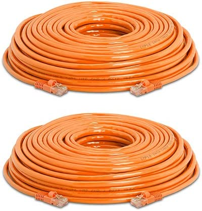 75 ft Orange 2 Pack Cat5e Ethernet Cable Gold Plated Contacts Male to Male Patch Cord