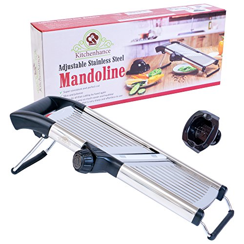 Kitchenhance - Adjustable Mandoline Slicer with Cut-Resistant Gloves and Blade Guard | Stainless Steel Food, Fruit & Vegetable Slicer Cutter | Perfect for slicing, grating and (Best Mandoline Slicer With Guard Yellows)