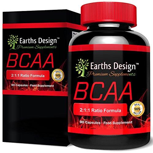 BCAA, Verzweigtkettige Aminosäuren zum Abnehmen, Optimales Nahrungsergänzungsmittel zum Bodybuilding, Kraft und Ausdauer, Enthält Glutamin für das Pre-Workout, Hergestellt in GB, 90 Kapseln
