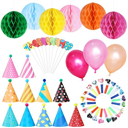 - NUOLUX Birthday Party Decorations Kit - Paper Cone Hats with Pom Poms Party Blowouts Balloons Hanging Paper Honeycomb Flower Balls Heart Shaped Cake Toppers