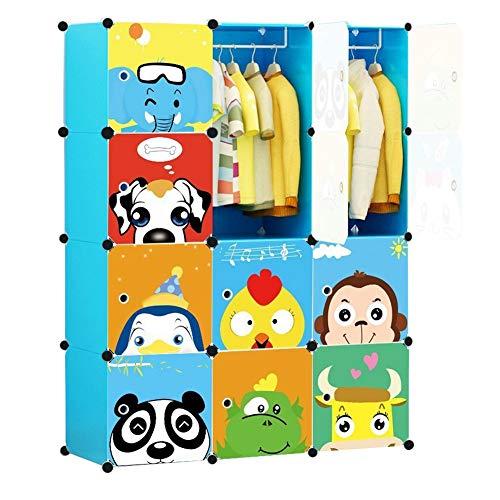 KOUSI Portable Kids Wardrobe Closet Dresser for Kids Children Dresser Hanging Storage Rack Clothes Closet Bedroom Armoire Cube Organizer Formaldehyde-Free Furniture, Blue, 8 Cubes & 2 Hanging Clothes