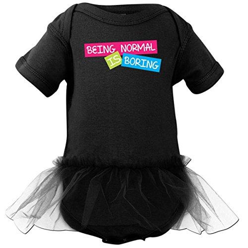 Inktastic Baby Girls' Being Normal is Boring Infant Tutu Bodysuit 6 Months Black