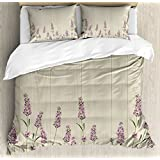 Ambesonne Lavender Duvet Cover Set Queen Size, Aromatic Herbs on Wooden Planks Springtime Nature Botany Illustration, Decorative 3 Piece Bedding Set with 2 Pillow Shams, Lilac Pale Sage Green