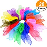 Shappy 28 Pieces Dance Scarves Square Juggling Scarf Magic Scarves, 24 by 24 Inches (14 Colors)