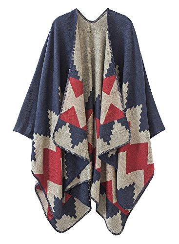 VamJump Women Color Block V Cut Oversized Blanket Poncho Wrap Shawl Red-400