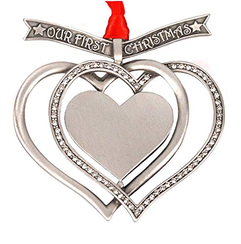 (Liberty Pewter Our First Christmas Engravable Interlocking Hearts Ornament Austrian Crystals 3.25