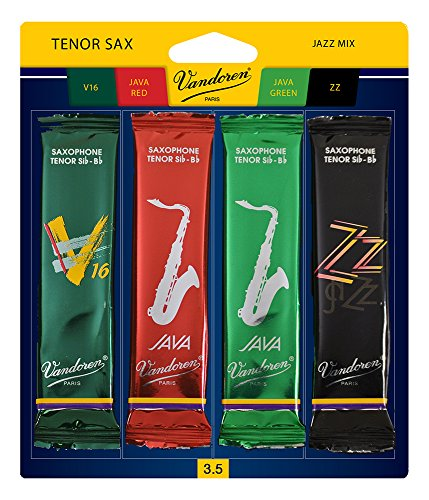 Vandoren SRMIXT35 Tenor Sax Jazz Reed Mix Card includes 1 each ZZ, V16, JAVA and JAVA Red Strength 3.5