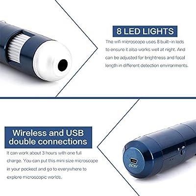 Analizador de cuero cabelludo USB Detector de cuero cabelludo de piel Microscopio digital Analizador de piel C/ámara de 200MP para uso en el sal/ón del hogar UE 5-200X Wifi inal/ámbrico